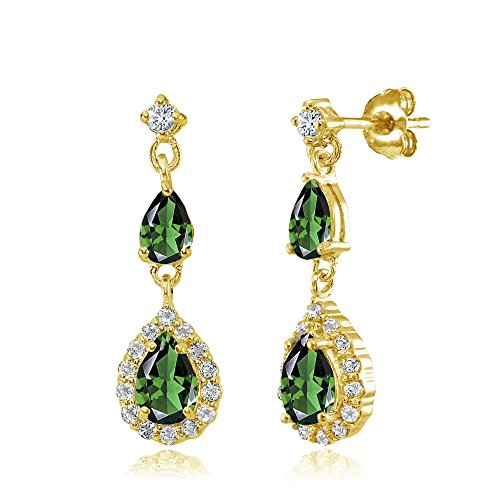 Yellow Gold Flashed Sterling Silver Simulated Emerald and White Topaz Fashion Teardrop Dangle Earrings ()