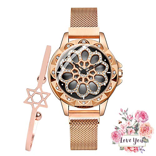 - Women Analogue Quartz Watch Fashion Unique Design Hollow Flower Diamond Waterproof Watch with Rotating Diamond Dial and Magnetic Mesh Band