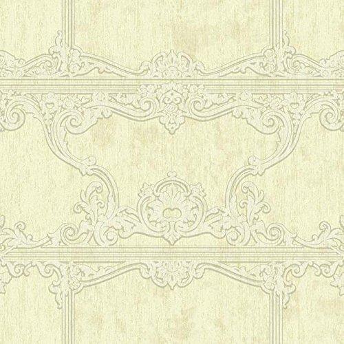 - York Wallcoverings Silver Leaf II Venetia Soft Metallic Gold, Cream and Grey Wallpaper