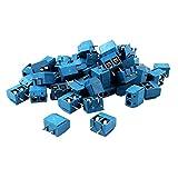50pcs 5mm Spacing PCB Mount Screw Terminal Blocks Blue 300V 16A