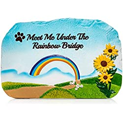 """Humane Goods Rainbow Bridge Pet Memorial Stone - 9"""" x 6"""" x .75"""" Pet Sympathy Gift for Dogs, Cats, and Other Animals"""