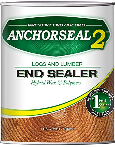 ANCHORSEAL 2 Log & Lumber end Grain Sealer - Prevents up to 90% of end Checks (Drying Splits) on Cut Ends of Wood & Decks. Green Wood Sealer for Turning Blanks & Bowls.
