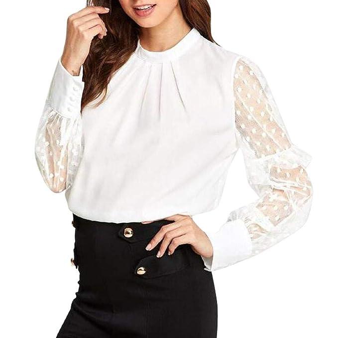 PANY Camisa para Mujer, Blusa Elegante, Encaje Mujeres de Moda Camiseta Lace Tops T