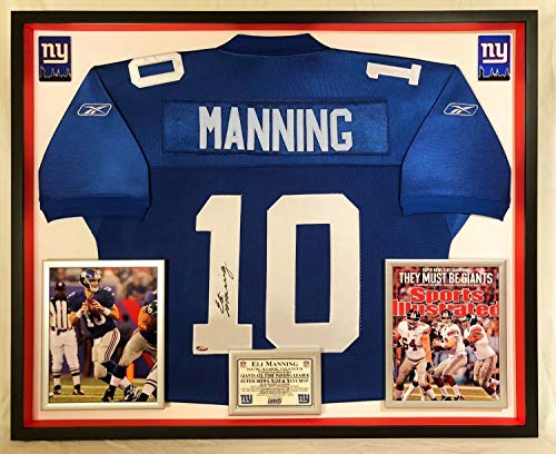 Eli Manning Autographed Signed Custom Framed New York Giants Reebok Jersey ()