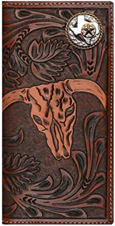 Custom 3D Belt Company New Texas Rope and Star Long Checkbook Brown and Tan Cow Skull Wallet