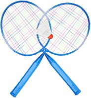 2 Players Badminton Racket Ball, Portable Colored Plaid Durable Nylon Alloy Badminton Racquet 3 Balls for Chil