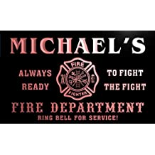 qy004-r Michael's Fire Fighter Department Firemen Bar Neon Light Sign