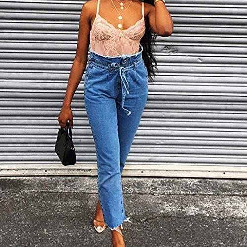 Tallas Jeans Blau Ropa Grandes Alto Libre Crudos Vaqueros Talle Slim Al Mujeres Skinny Pantalones Las De Cintura Adornos Denim Aire z18qHYwxZ