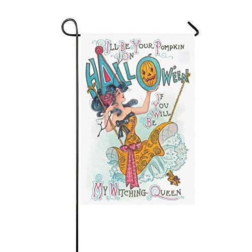 ArneCase Garden Flag Double Sided Printed Halloween Witch Qu
