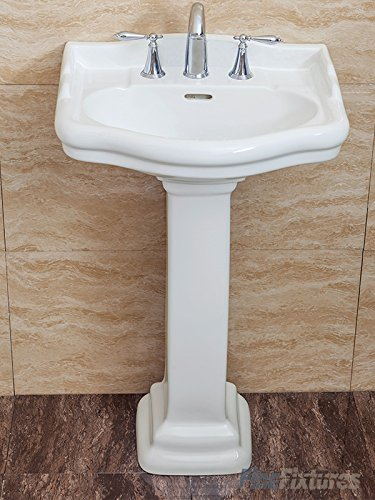 - Fine Fixtures , Roosevelt White Pedestal Sink - Vitreous China Ceramic Material (8 Inch Faucet Spread Hole)