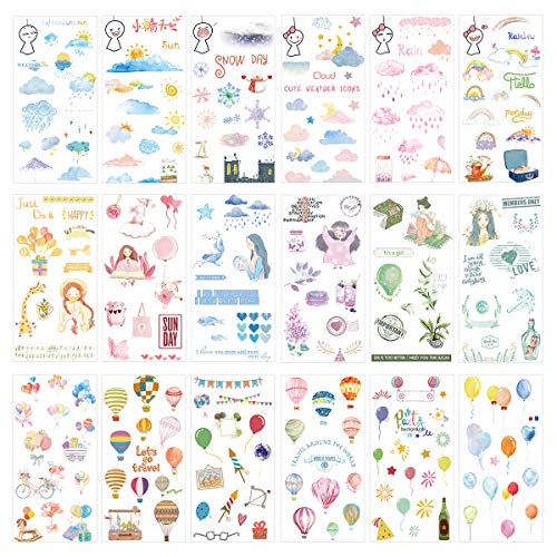 Kawaii Sticker Set (18 Sheets) Happy Girl Party Background Supply Colorful Travel Balloon Bike Weather Symbol Rainy Sunny Snowy Cloudy Rainbow DIY Stickers for Diary Planner Scrapbooking (Kawaii Balloons)