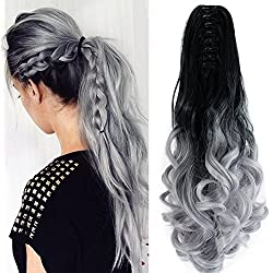 "22"" Hair Extensions Curly Triple Ombre Three Tone Hairpiece Hair Full Head with 16 Clips Blonde to Light Green to Dark Blue"
