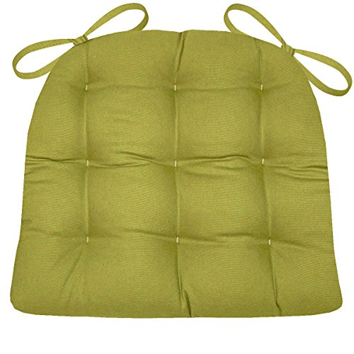 Barnett Home Decor Cotton Duck Pear Green Dining Chair Pad with Ties – Size Standard – Latex Foam Fill Cushion – Machine Washable, Reversible, Solid Color, 100% Cotton, Made in USA