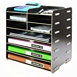 Menu Life Decorative Wooden File Cabinet Document Magazine Folder Holder A4 A5 Size Literature Sorter, Letter Tray 8 Slots (Black)