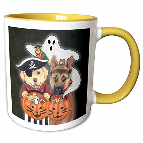 [3dRose Laura J. Holman Art - Halloween Dogs - Labrador, Shepherd, and parrot in costume with a ghost. - 11oz Two-Tone Yellow Mug (mug_221197_8)] (Pictures Of Dogs In Halloween Costumes)