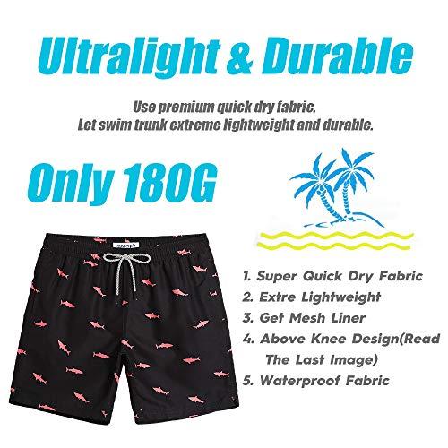 275c302c9c MaaMgic Mens Swim Trunks Quick Dry Beach Wear Shorts Mesh Lining ...