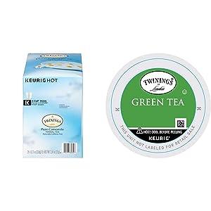 Twinings of London Pure Camomile Tea K-Cups for Keurig, 24 Count & Green Tea K-Cups for Keurig, 24 Count (Pack of 1)