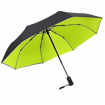 DUHUI Paraguas automático Plegable a Prueba de Viento Hombres y Mujeres Business Tri-Fold Paraguas