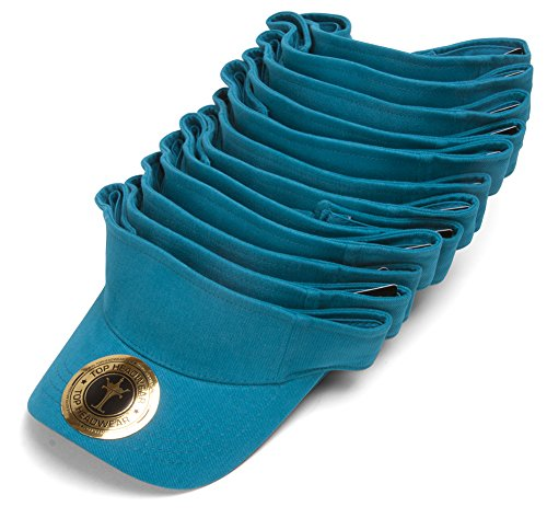 Blank Adjustable Visors - 12-Pack - Turquoise