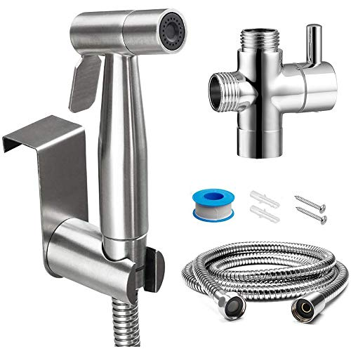 held Bidet Sprayer Kit for Toilet, Premium Stainless Steel Diaper Sprayer Shattaf Cloth Diaper Sprayer, Perfect Bottom Cleaner Spray & Shower Attachment ()