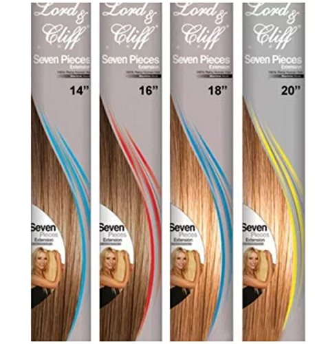 LORD & CLIFF SEVEN PIECE STRAIGHT REMY HAIR CLIP IN EXTENSION 18'' OMBRE 2/BLOND by LORD &CLIFF