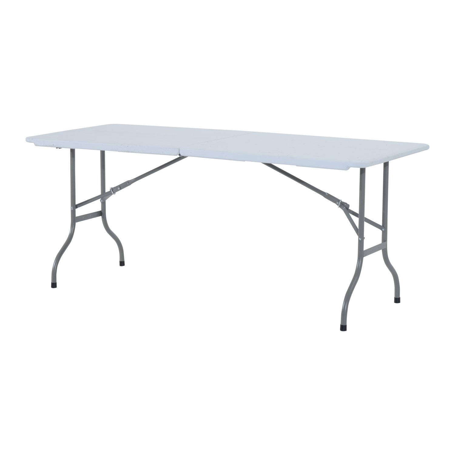 Outsunny 1.8 m Outdoor Garden Heavy Duty Portable Camping Party Dining Foldable Table - White/Grey MHSTAR UK 84B-008