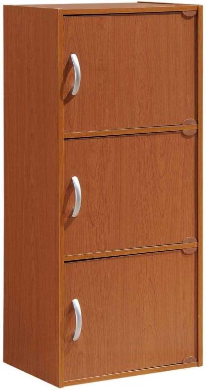 HODEDAH IMPORT 3-Shelf Bookcase Cabinet, Cherry
