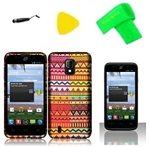 Geometric Aztec Phone Case Cover Cell Phone Accessory + Yellow Pry Tool + Stylus Pen + Screen Protector + Extreme Band For Zte Majesty Z796C / Zte Source N9511