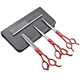 LILYS PET 7'' Professional Pet Grooming Scissors Set,3 pcs of Cutting&Thinning&Two-way Curved shears and comb Kit (Red handle)