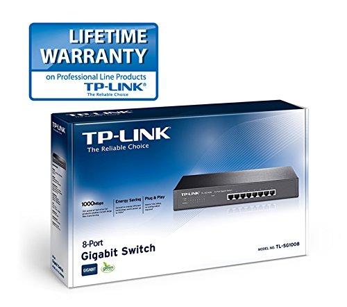 TP-Link TL-SG1008 8-Port 10//100//1000Mbps Gigabit 13-inch Rackmountable Switch 16Gbps Capacity