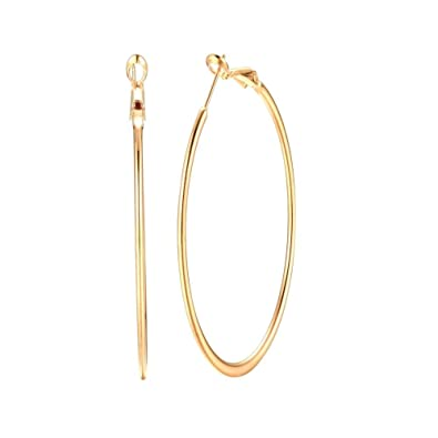 9427858e4b6c1 3.5 Inch 14K Yellow Gold Plated Basketball Big Hoop, Yellow Gold, Size No  Size