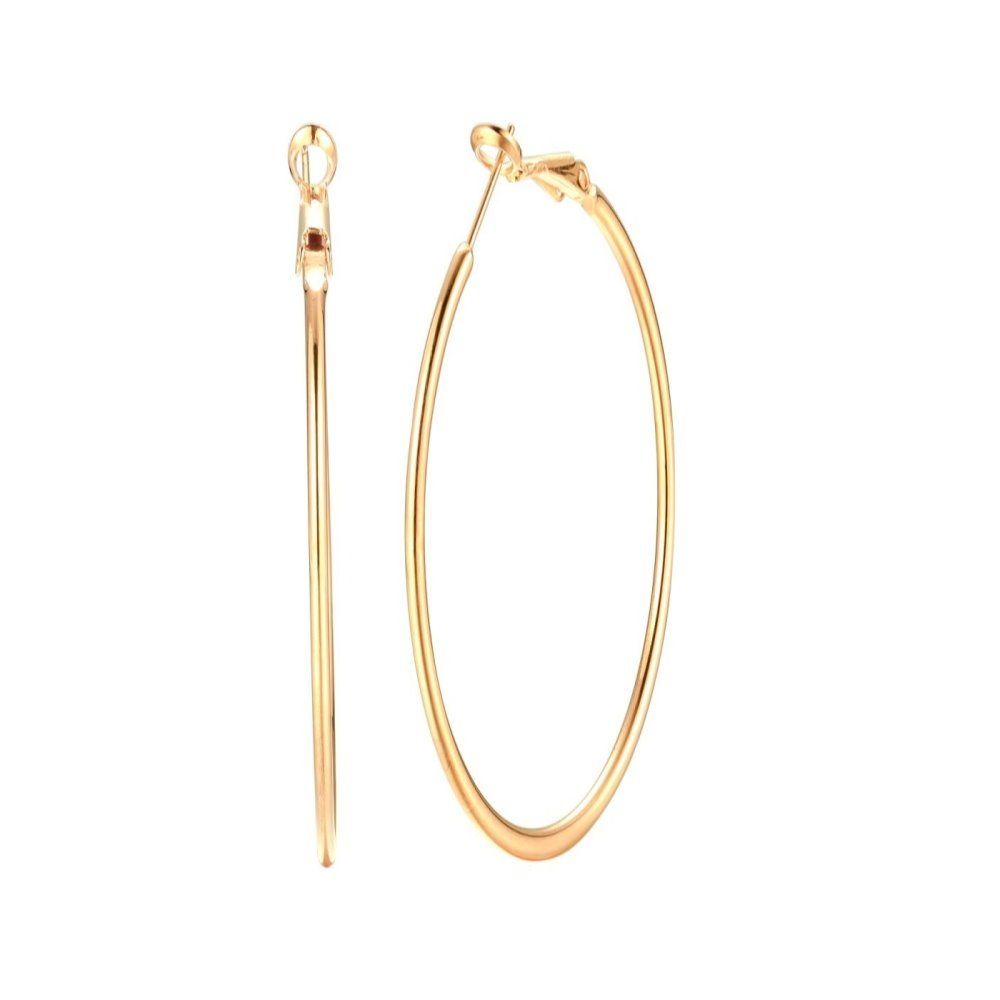 3.5 Inch 14K Yellow Gold Plated Basketball Big Hoop Earrings For Women Girls Stainless Steel Large Hoops For Sensitive Ears (yellow gold)