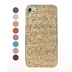 CeeMart Bling Glitter Sequins Design Silver Hard Case for iPhone 4/4S Blue