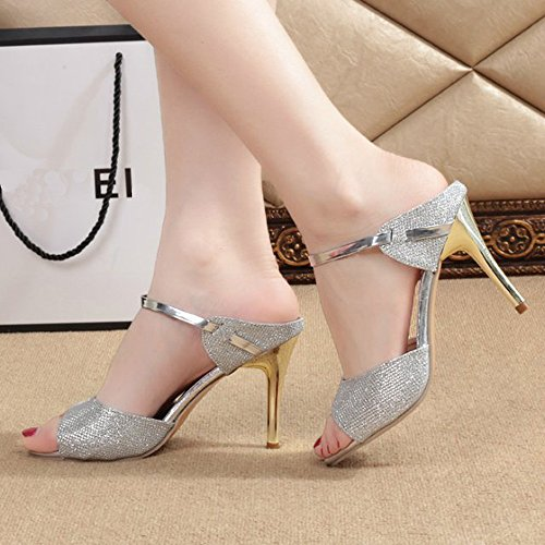 BUIMIN Zapatos Sandalia Mujer De Tacón 8cm Peep Toe EN Forma De Boca De Pescado Elegante De ModaTranspirable Para Verano Fácil de Ponerse y QuidarseTalla 34-40 1pc (EU:40, Plateado)