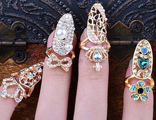 Nail Ring (Beauty 4pcs/lots Nail Art Charms Bowknot Crown Crystal Nail Decoration Nail Finger Rings)