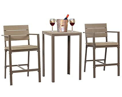 SUNCROWN Outdoor Bar Set (3 Piece Set) Steel Bar Height Bistro Set All