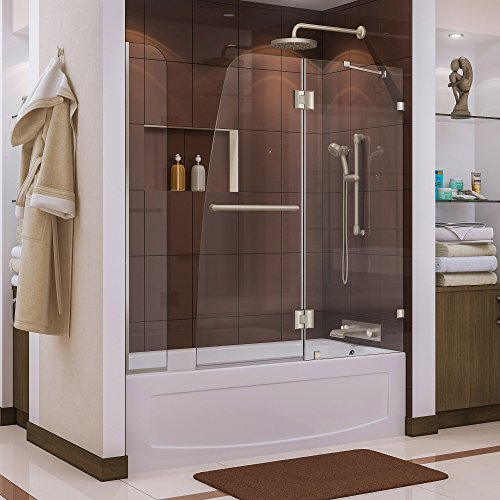 DreamLine Aqua Lux 56-60 in. Width, Frameless Hinged Tub Door, 5/16'' Glass, Brushed Nickel Finish by DreamLine