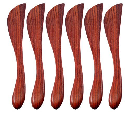 [Natural Rose Wood Wooden Jam Cheese Bread Butter Knife Spread Spreader, 6 Pcs.] (Ideas For Making A Star Costume)