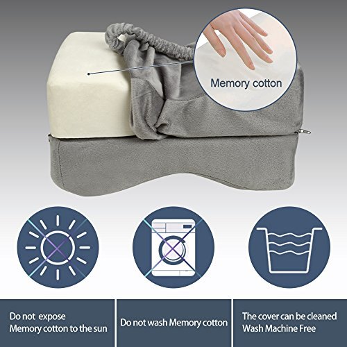 TTLIFE Sciatic Nerve Pain Relief Knee Pillow Orthopedic Doctor Recommend for Sciatica, Back Pain, Leg Pain, Pregnancy, Hip and Joint Pain - Memory Foam Cushion with Washable Cover,Grey by TTLIFE (Image #4)