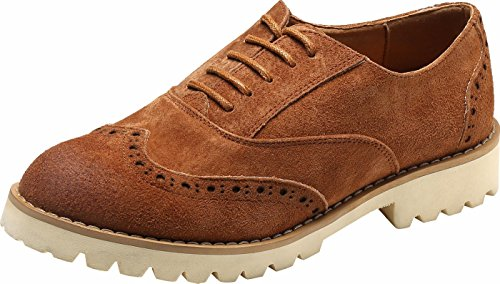Ulite Girls Solid Color Perforated Suede Leather Lace-up Low Heel Oxfords, Comfortable Casual Walking Oxfords LBrw9 - Suede Lace Up Walking Shoes