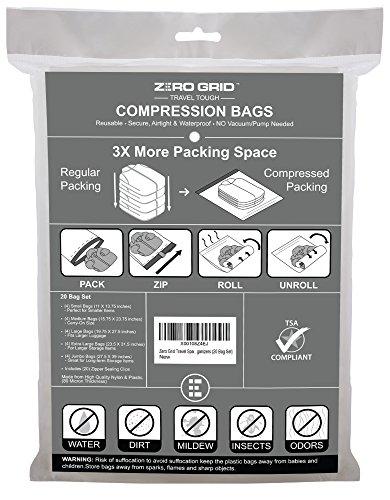 Zero Grid Travel Space Saver Bags Compression Storage & Packing Organizers (20 Bag Set) (Ziplock Spacesaver)