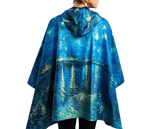 RainCaper Rain Poncho for Women - Reversible Rainproof Hooded Cape (Fine Art- Van Gogh Over The Rhone)]()