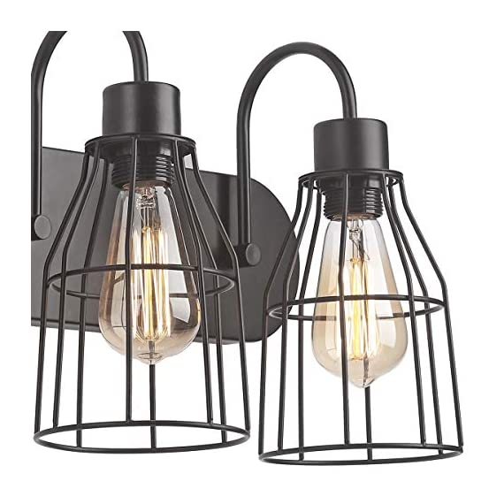 """ZZ Joakoah 3-Light Bathroom Vanity Light, Industrial Metal Cage Wall Sconce Vintage Wall Lamp Light Fixture for Bathroom Kitchen Living Room Vanity Hallway. - ▶DESIGN: 3-Light Industrial bathroom vanity light, Wire cage design, Simple and elegant, Send out a vintage rustic and industrial feeling. ▶Dimensions: 21.26"""" (L) x 11.22"""" (H) x 7.87"""" Projection from wall, Back plate size: 21.26""""(L) x 4.53""""(W) . ▶BULB REQUIREMENT: E26, Max 60W, Compatible with any E26 base LED bulb, CFL, Halogen, Incandescent. LED bulb can be dimmed with an extra dimmer switch (BULB NOT INCLUDED). - bathroom-lights, bathroom-fixtures-hardware, bathroom - 51erNa %2BvlL. SS570  -"""