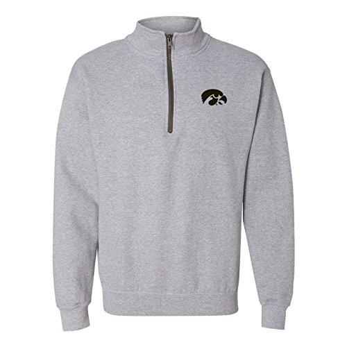 AQ07 - Iowa Hawkeyes Primary Logo Left Chest (1/4) Quarter Zip Sweatshirt - X-Large - Sport Grey