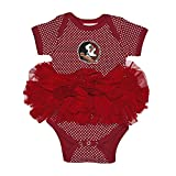 Two Feet Ahead NCAA Florida State Seminoles Children Girls Pin Dot Tutu Creeper,12 Mo,Crimson