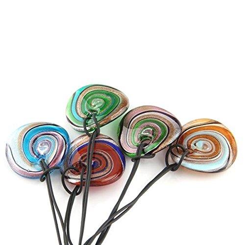 Ecloud Shop/® 5 Farben Murano Murano Glas Anh/änger Halskette Foil Art UND WEISE