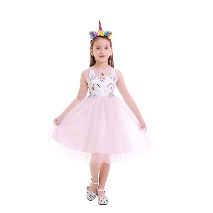 OBEEII Niñas Disfraz de Navidad Halloween Vestido Princesa Unicornio Blancanieves Traje para Fiesta Carnaval Gala Ceremonia