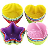 ScivoKaval 24 Pack Reusable Silicone Baking Cups, for Cupcake Muffin Liners, ...