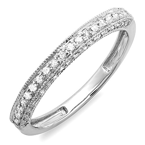 0.40 Carat (ctw) 14k White Gold Round Diamond Ladies Anniversary Wedding Band Enhancer Guard Ring (Size 7) (Diamond Wedding Rings White Gold)