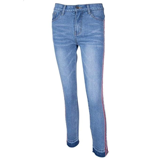 e785c0515 NPRADLA Vaqueros Jeans Tendencia Pantalón de Rayas hasta el Tobillo con  costado de Las Mujeres Delgados y elásticos de Talle Medio Moda Casual Azul  S  ...